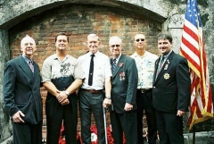 Members of the Taiwan POW Camps Memorial Society pose with the Parker family after the ceremony. (l-r) Jerome Keating, Jeff Parker, Charles Parker , Michael Hurst, Rob Parker and Mark Wilkie.